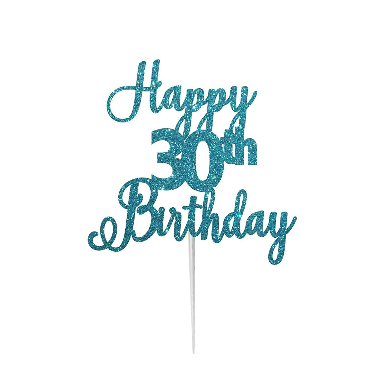 LissieLou Happy 30th Birthday Pretty Cake Topper Glitter Card Made in UK Dark Blue