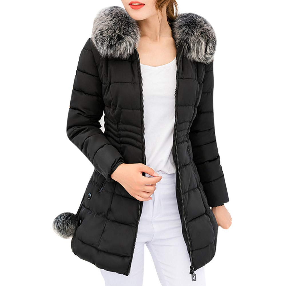Women Hooded Coat Winter Windproof Warm Long Thick Fur Collar Cotton Parka Slim Jacket