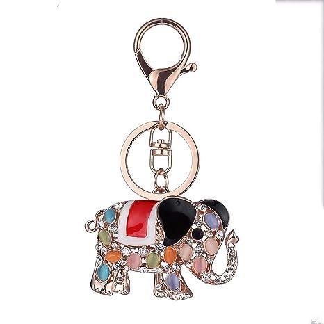 Xjya elefante portachiavi oro rosa con animale zirconi lega cartone