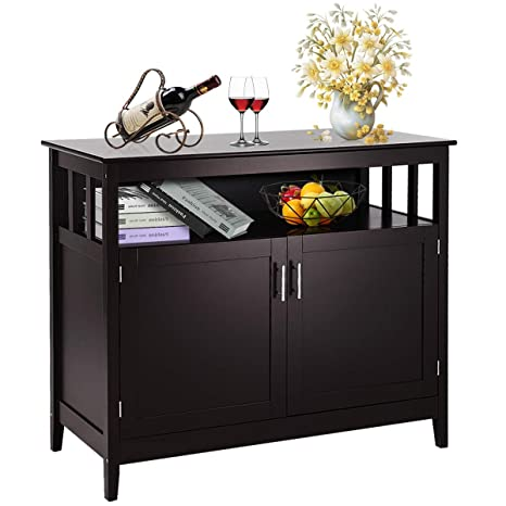 Costzon Kitchen Storage Sideboard Dining Buffet Server Cabinet Cupboard,  Free Standing Storage Chest with 2 Level Cabinets and Open Shelf,  Adjustable ...