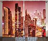 Cityscape Curtains by Ambesonne, Dubai at Night Cityscape with Tall Skyscrapers Panorama Picture Arabian Peninsula, Living Room Bedroom Window Drapes 2 Panel Set, 108 W X 84 L Inches, Pink Gold