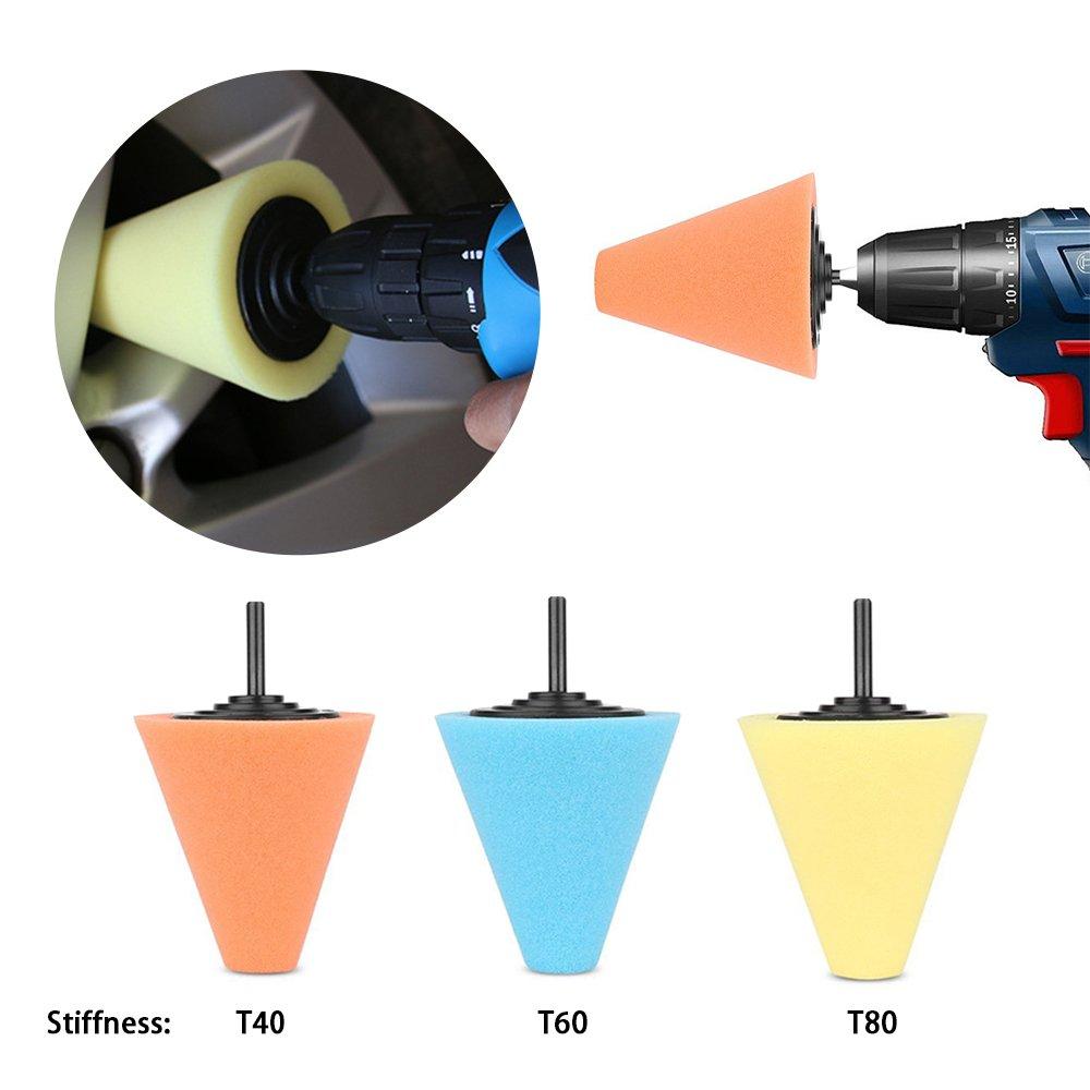 Lenmumu Drill Buffing Sponge Pads Kit 3 Pack, 1/4''/6mm Metal Polishing Tool Cone Foam Pad Polisher Buffer Sponge Ball for Automotive Car Wheels Hub Care by Lenmumu (Image #6)