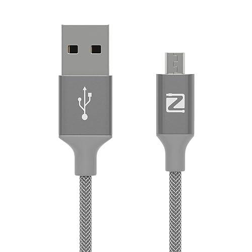 Micro USB Kabel Nylon - Zonso Samsung Ladekabel / Ladekabel Samsung - Lebenslange Garantie – Ladekabel und Datenkabel für Android Smartphones, Samsung Galaxy, HTC, Huawei, Sony, Nexus, Nokia, Kindle und mehr - 1.2M Grau