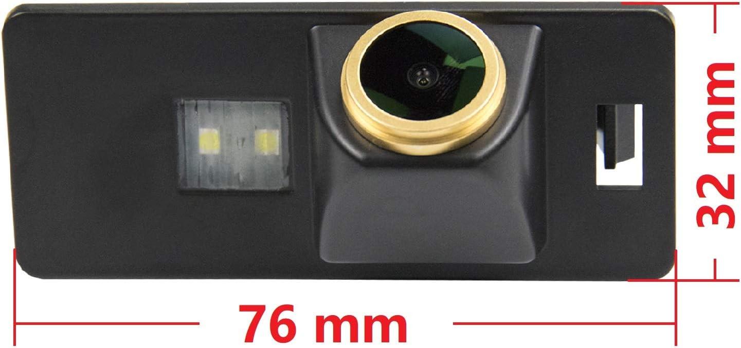 Dorado C/ámara HD 1280x720p Impermeable C/ámaras de visi/ón Trasera C/ámara de Marcha atr/ás C/ámara para Audi A3 8P 8V A4 B6 B8 S4 RS4 A6 A7 C6 RS6 A8 S8 Q7 A=Screw Hole Style
