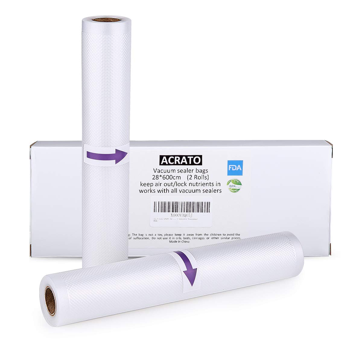 Vakuumierbeutel ACRATO Vakuumbeutel Vakuumrollen 28 cm x 300 cm, 2 Rollen Folienbeutel Strukturbeutel für alle Vakuumiergeräte, Einfrieren Mikrowellen und Sous Vide Verwendbar Transparent