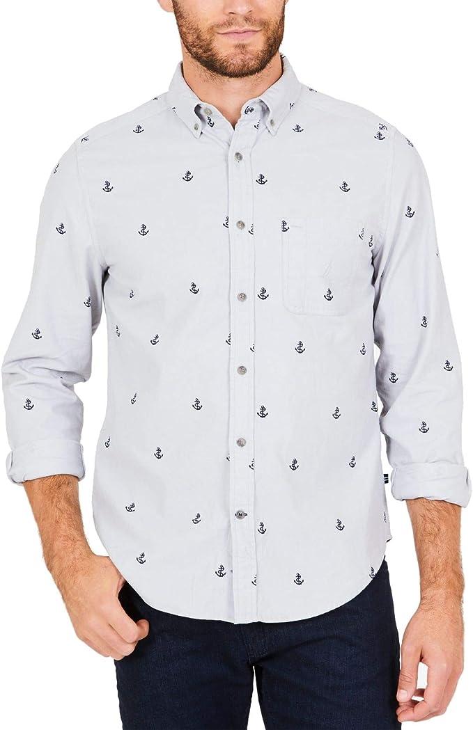 Nautica - Camisa para Hombre con Estampado de Ancla y Botones ...