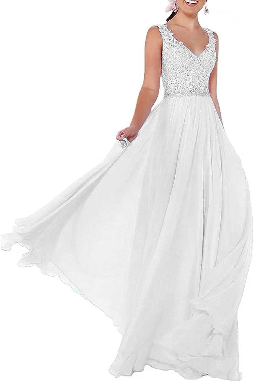 Beyonddress Damen Chiffon Abendkleider Lang Hochzeit V-Ausschnitt Brautkleid Ballkleider Brautjungfern Kleider