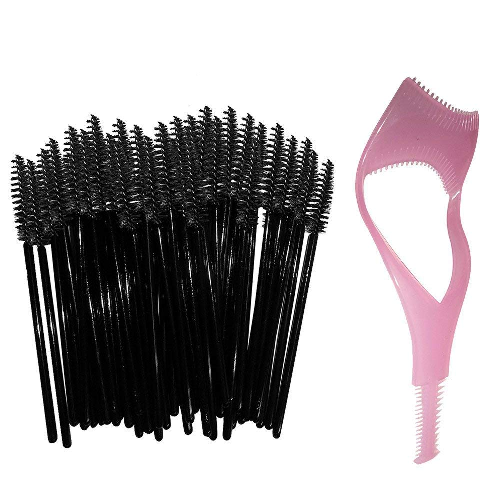 Disposable Eyelash Mascara Wands Brush Set Black -FREE Mascara Shield Applicator Guard Guide Comb & Beauty eBook - High Quality Eyelash Extension Spoolies Applicators. 50 pc bulk pack - By New8Beauty NEWEIGHTS
