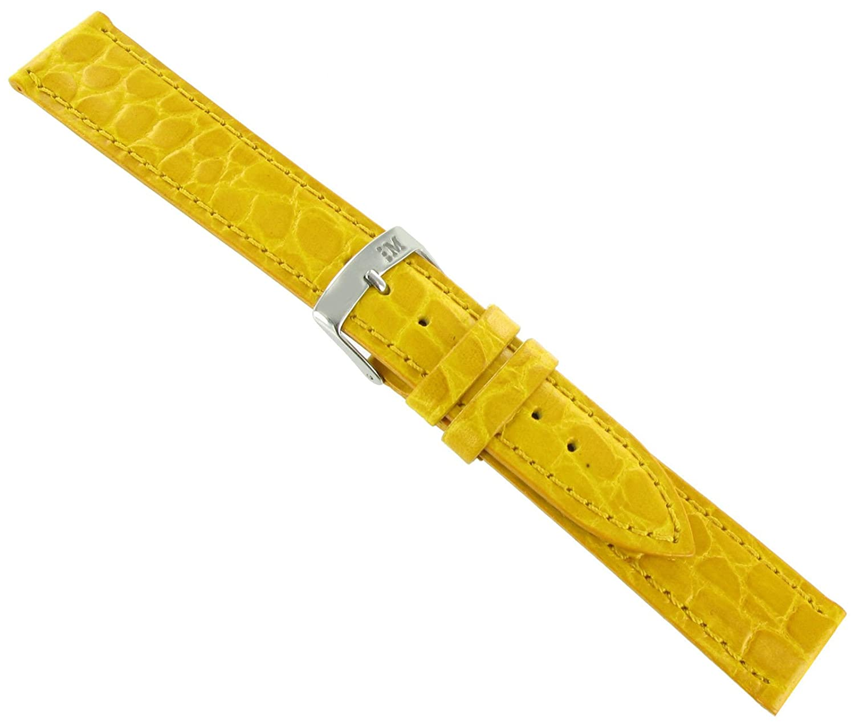 20 mm Morellato Crocodile Grainイエローパッド入りステッチ腕時計バンドストラップLong 751  B07DM94D6V