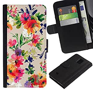 All Phone Most Case / Oferta Especial Cáscara Funda de cuero Monedero Cubierta de proteccion Caso / Wallet Case for Samsung Galaxy S5 Mini, SM-G800 // Flowers Vintage Drawing Wallpaper Blossoms