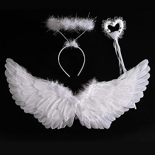 Naduew Alas y Halo de ángel, Alas de Plumas de ángel Set con ...