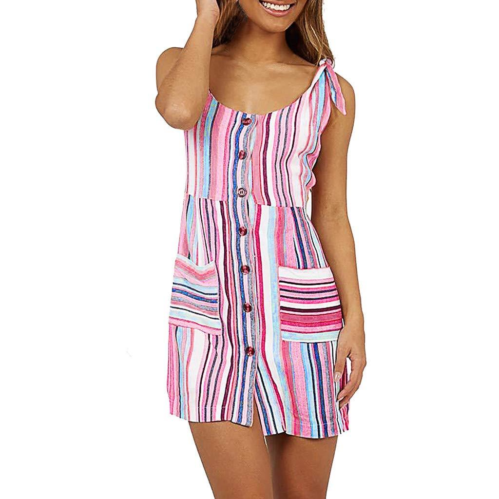 TnaIolral Women Dresses Summer Lace Up V-Neck Short Sleeve Ruffles Printed Mini Skirt Pink