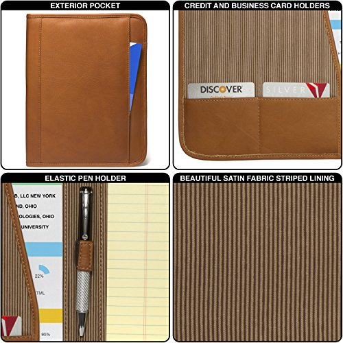 Luggage Depot USA, LLC Muiska 8.5 X 11 inch Leather Travel Business Writing Padfolio, Saddle by Muiska (Image #4)