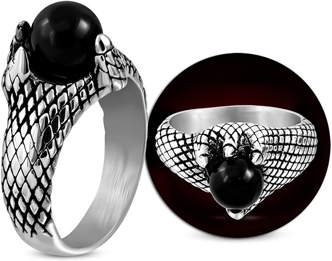 Stainless Steel 2 Color Dragon Eagle Claw Biker Ring with Black Onyx