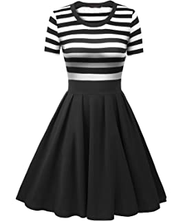 Vessos Womens Vintage Stripes Patchwok A-Line Short/Long Sleeve Cocktail Dress