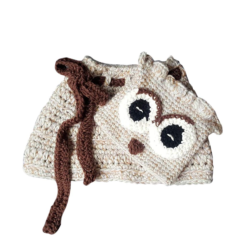 Fenical Cute Owl Scarf Hat Set Animals Caps Neck Warmer Wrap Wool Knitted Beanie Scarves for Children Kids (Khaki)