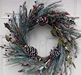 Snowy Morning Winter Door Wreath Handcrafted Assorted Flocked Holiday Greens White Tipped Pine Cones And Red Berries Display This Christmas Wreath The Entire Winter Season