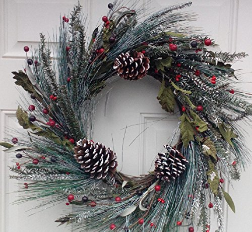 Snowy Morning Winter Door Wreath Handcrafted Assorted Flocked Holiday Greens White Tipped Pine Cones And Red Berries Display This Christmas Wreath The Entire Winter Season (Berry Red Pinecone)
