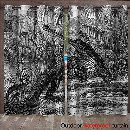 Vintage Outdoor Ultraviolet Protective Curtains Old Fashion Sketch of A Crocodile in Forest Wildlife Nature Woods Fossil Picture W108 x L84(274cm x 214cm) -  WilliamsDecor
