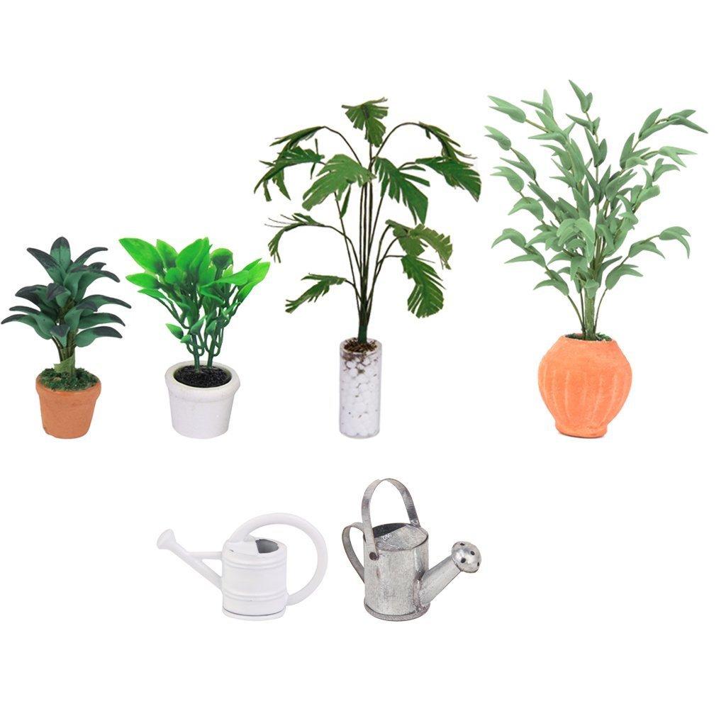Newin star Puppenstuben Kr/äftiges Gr/ün Pflanzen Banana Tree Puppenstuben K/ünstliche Miniatur Pflanze 1//12 Skala Bananen-Baum in Wei/ß Flasche