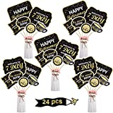 Boao Retirement Party Decoration Set Golden Retirement Party Centerpiece Sticks Glitter Table Toppers for Happy Retirement Party Supplies, 24 Pack