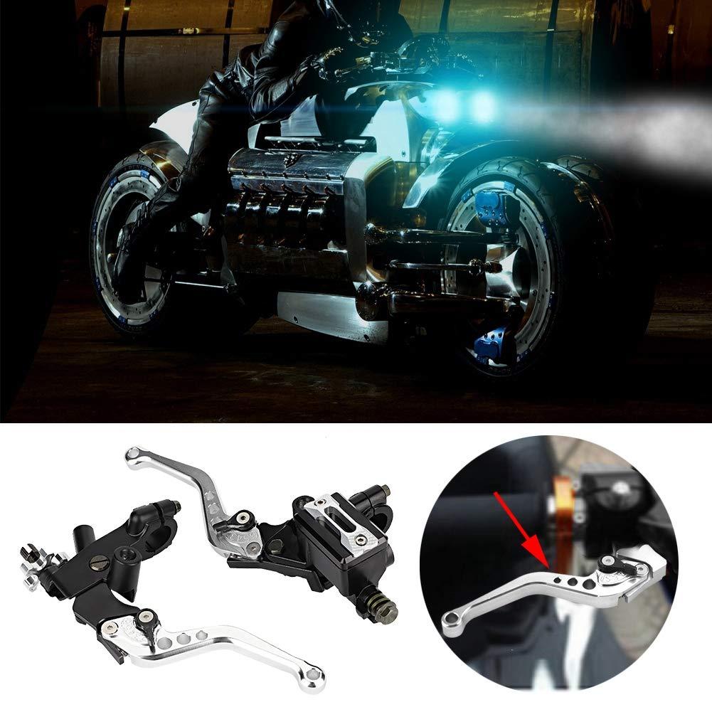 Palancas de embrague y freno ajustables universales Keenso de 1 par Plata palancas de dep/ósito de cilindro maestro de embrague de freno de motocicleta de 7//8 de pulgada para moto