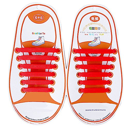 12 pcs Easy No Tie Elastic Silicone Shoe Laces (Red) - 2