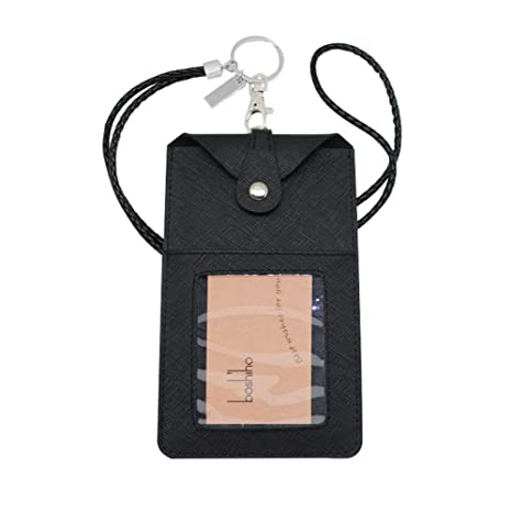 competitive price bd4dc bf8a8 Boshiho Leather ID Card Badge Holder with Heavy Duty Lanyard Vertical Style  Phone Holder (Black with Keychain)