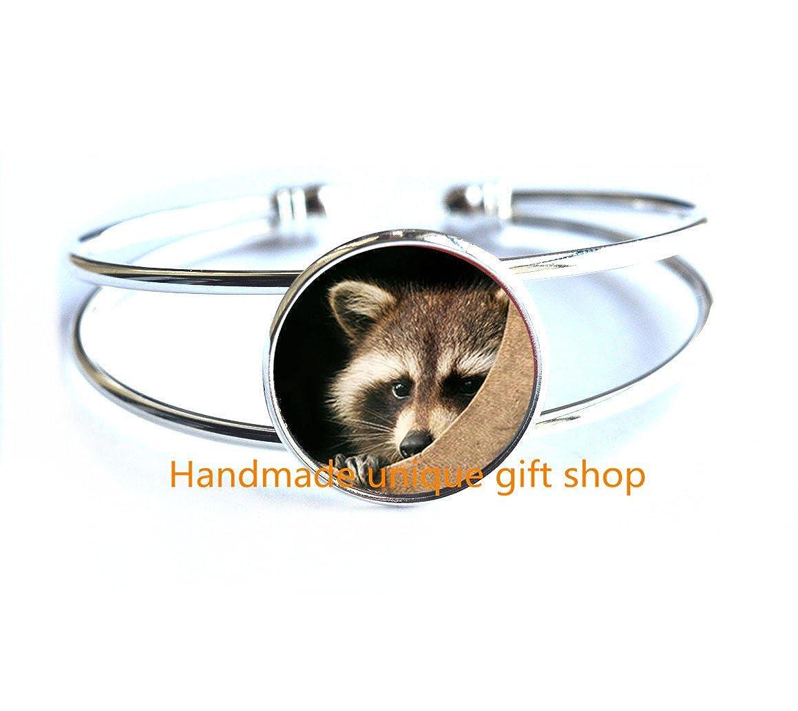 Delicate Bracelet,Fashion Bracelet,Raccoon Bracelets//Bracelet Jewelry Raccoon Photo Jewelry Glass Bracelets Gift-RC142 Raccoon Bracelet Jewelry