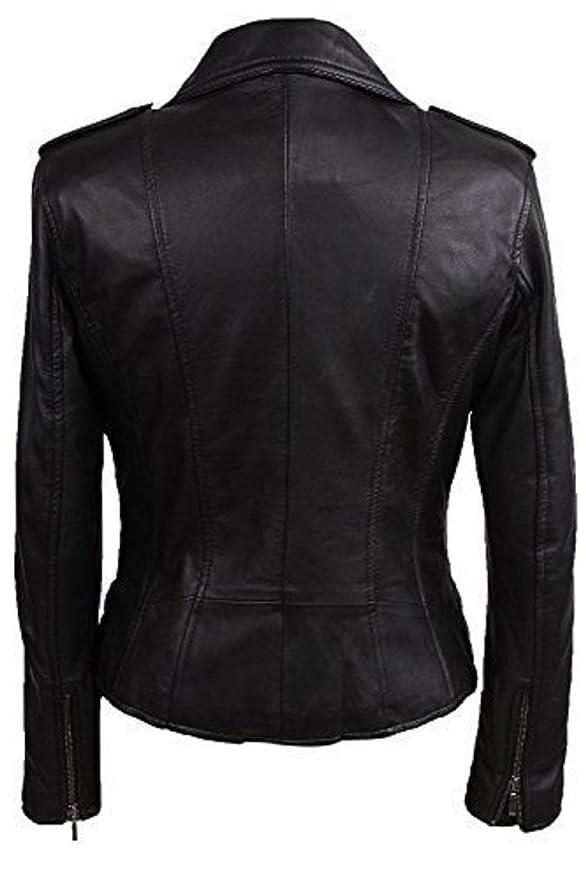 Brandslock mujeres el 100% La chaqueta de cuero verdadera del motorista de las montó la roca de la vendimia del estilo de los motoristas: Amazon.es: Ropa y ...