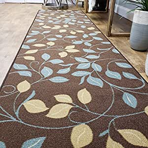 Amazon Com Runner Rug 2x5 Brown Floral Kitchen Rugs And