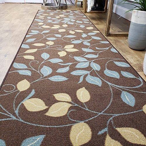 Runner Rug 2x5 Brown Floral Kitchen Rugs and mats | Rubber Backed Non Skid Rug Living Room Bathroom Nursery Home Decor Under Door Entryway Floor Non Slip Washable | Made in Europe