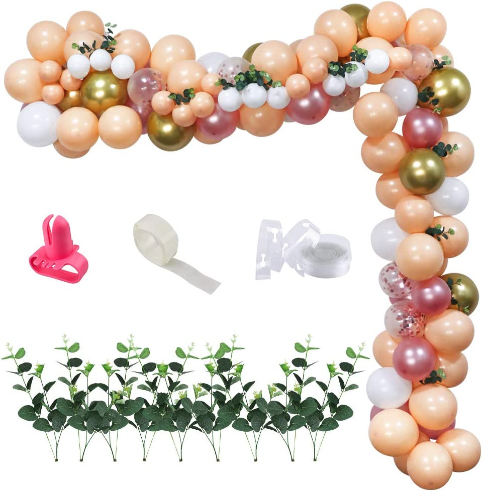 UTOPP Champagne Balloon Garland Arch Kit, Blush Rose Gold,Chrome Gold,White,Confetti Latex Balloons with Eucalyptus Leaves,Dot Glue Decorating Strip Tape for Bridal Shower, Baby Shower,Wedding,Cocktail Party,Boho Party Decor