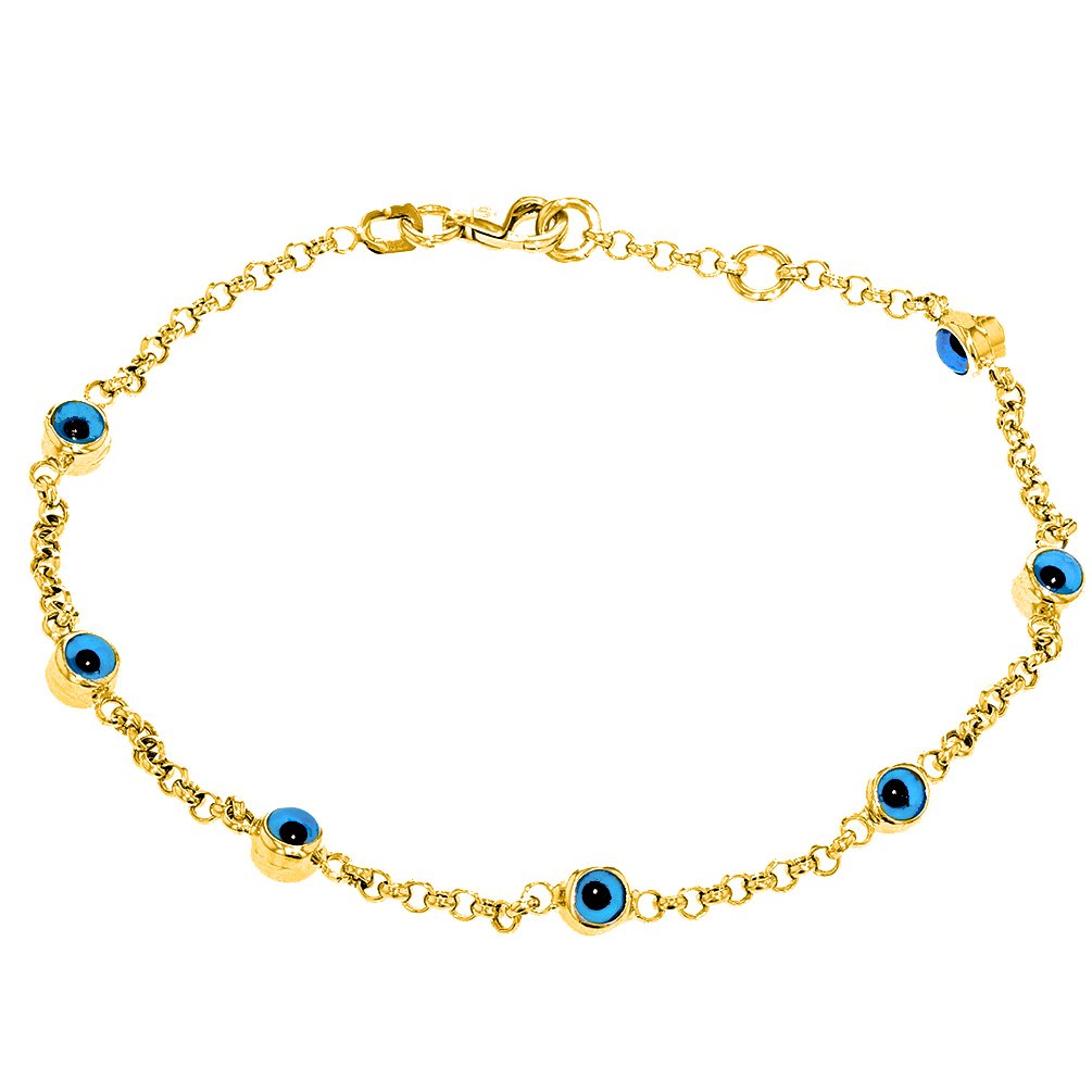 Polished 14k Gold Chain Link Bracelet with Blue Evil Eye 7''