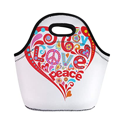 178868f03865 Amazon.com: Semtomn Lunch Tote Bag Colorful Power Hippie Heart Love ...