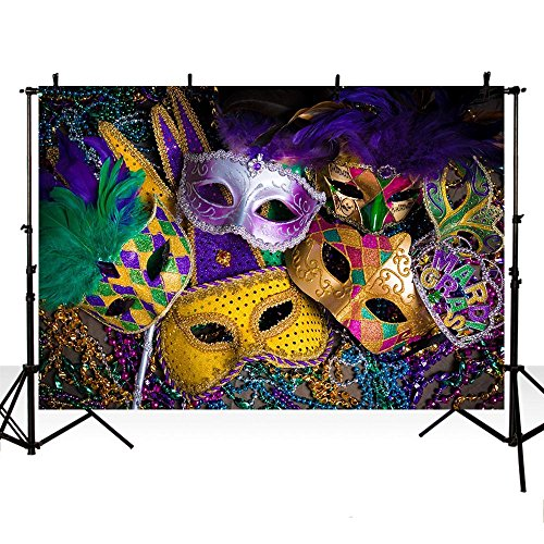MEHOFOTO 8x6ft Mardi Gras Photo Studio Booth Background Banner Halloween Mask Masquerade Prom Dance Birthday Party Decoration Backdrops for Photography
