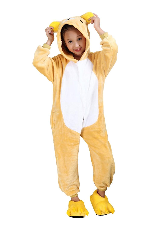Pigiama Intero Animali Costumi Carnevale Anni Pigiami Interi Con Cappuccio Maglie Pigiama Giallo Sleepwear Cosplay Orso Manica lunga Autunno Inverno Tuta da bambino 3-8 Anni