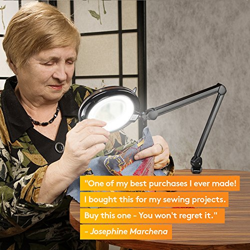 Brightech Light View PRO LED Magnifying Clamp Lamp - Daylight Bright Magnifier Lighted Lens – Dimmable with Adjustable Color Temperature Utility Light for Desk Table Task Craft or Workbench –black by Brightech (Image #5)