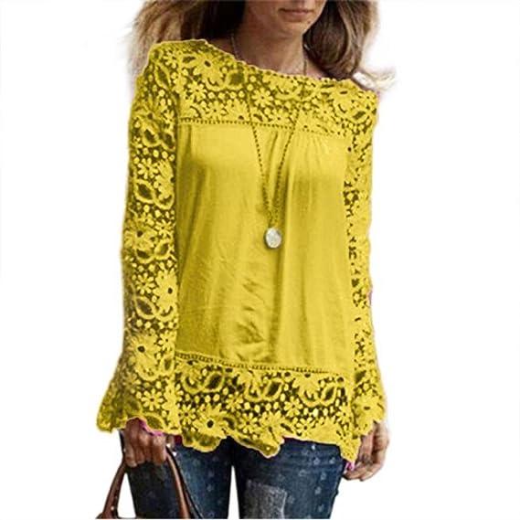 Moda Camisa de Manga Larga para Mujer Blusa de Encaje Casual Algodón Suelto Tops Camiseta ❤