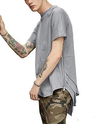 dc738b3d2 COOFANDY Mens Hipster Hip Hop T Shirt Longline Crewneck Short Sleeve Tee  Shirts Grey