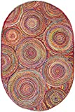 Safavieh Cape Cod Collection CAP203A Handmade Red and Multicolored Jute Oval Area Rug (4' x 6')