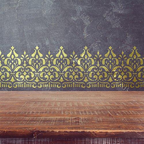 J BOUTIQUE STENCILS Wall Border Ornament stencil Pattern 095 Reusable Template for DIY wall decor