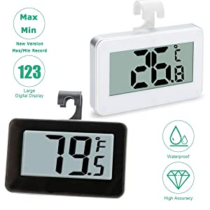 (Upgraded Version) 2 Pack Refrigerator Fridge Thermometer Digital Freezer Room Thermometer Waterproof, Max/Min Record Function with Large LCD Display, Black + White