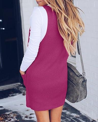 7dcefc7b1 Huiyuzhi Womens V Neck Knit Tank Sweater Dresses Pockets Sleeveless Ribbed  Loose Sweaters at Amazon Women s Clothing store
