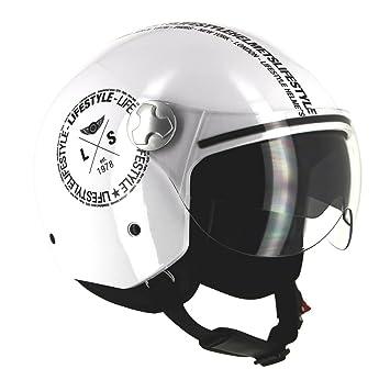 Lifestyle – Casco Jet ls-260 homologados – Pantalla solar – Déco Hipster blanco negro