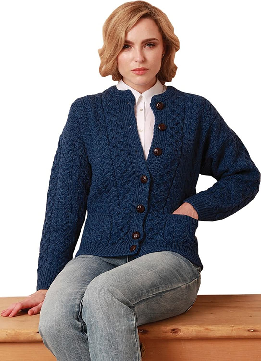 Ladies Colorful 1920s Sweaters and Cardigans History Ladies Wool Cardigan Sweater Imported from Ireland 100% Irish Wool Blue $90.95 AT vintagedancer.com