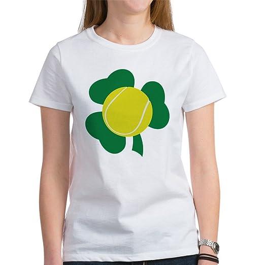 be5d63f0bf CafePress - Irish Tennis Shamrock Women's T-Shirt - Womens Cotton T-Shirt,