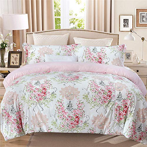 Abreeze Pink Floral Duvet Cover Set, 100% Cotton Bedding, Rose Flowers Tower Pattern Printed Duvet Covers, with Zipper Closure (3pcs,Cal.King Size)