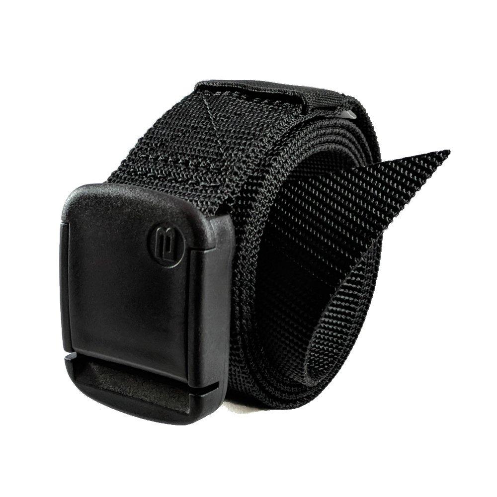 1.25 Inch Nylon Web Belt with Adjustable Buckle, Unisex (X-Large, Black)