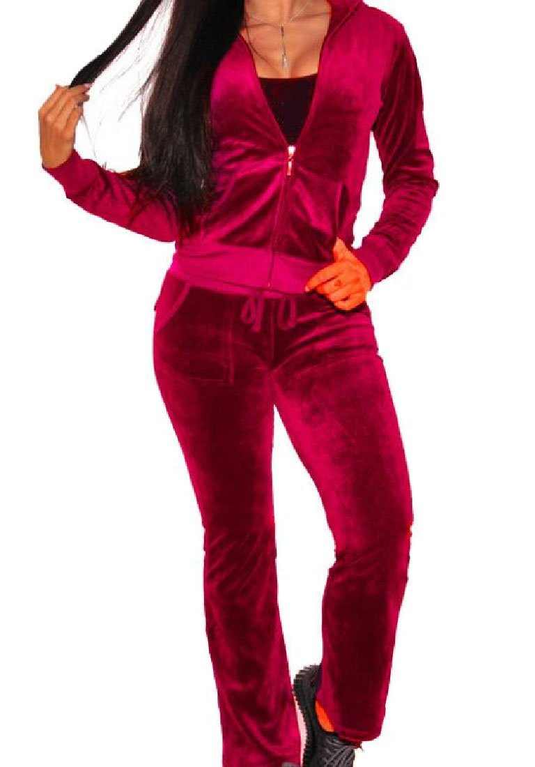 SportsX Womens Velvet Athletic Zip-Up Solid Fitted Tracksuit Set Sweatsuit